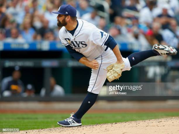 Andrew Kittredge of the Tampa Bay Rays in action against the New York Yankees at Citi Field on September 13 2017 in the Flushing neighborhood of the...