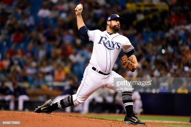 Andrew Kittredge of the Tampa Bay Rays throws a pitch during the eighth inning against the Philadelphia Phillies on April 15 2018 at Tropicana Field...
