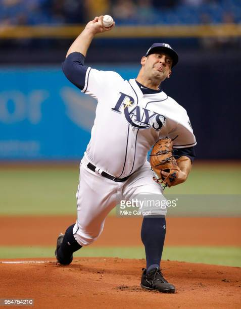 Andrew Kittredge of the Tampa Bay Rays throws in the first inning of a baseball game against the Toronto Blue Jays at Tropicana Field on May 4 2018...