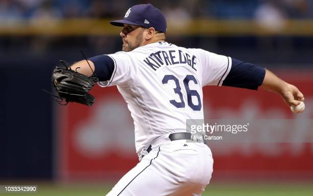 Andrew Kittredge of the Tampa Bay Rays throws in the seventh inning of a baseball game against the Oakland Athletics at Tropicana Field on September...