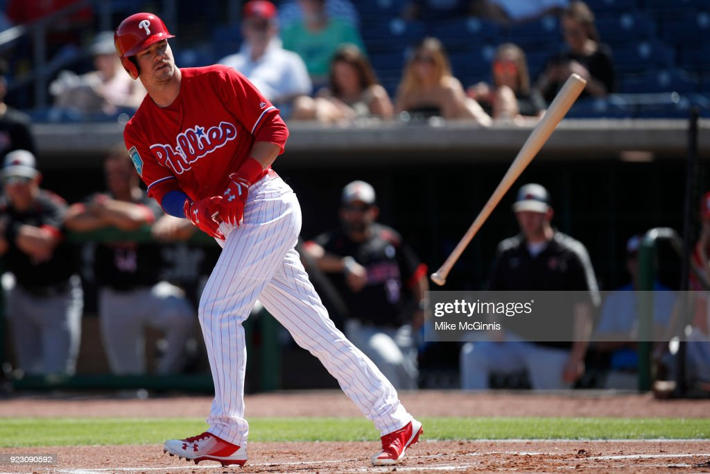 Andrew Knapp #15 of the Philadelphia Phillies draws a walk during the first inning against the University of Tampa during the Spring Training at Spectrum Field on February 22, 2018 in Milwaukee, Wisconsin.