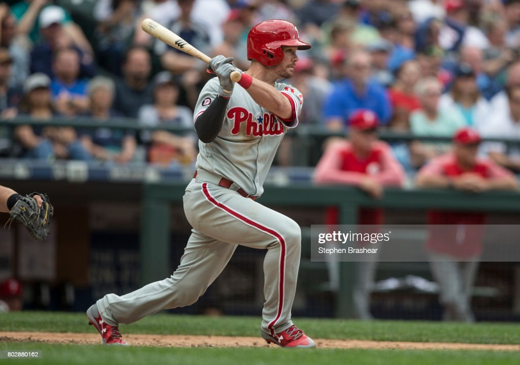Andrew Knapp #34 of the Philadelphia Phillies hits an RBI-single off of relief pitcher Edwin Diaz #39 of the Seattle Mariners that scored Cameron Perkins #30 of the Philadelphia Phillies during the ninth inning of an interleague game at Safeco Field on June 28, 2017 in Seattle, Washington. The Phillies won 5-4.