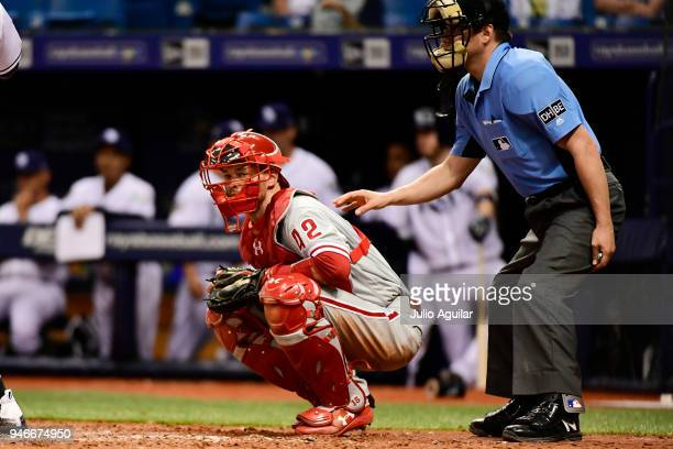 Andrew Knapp of the Philadelphia Phillies looks to his dugout during the seventh inning against the Tampa Bay Rays on April 15 2018 at Tropicana...