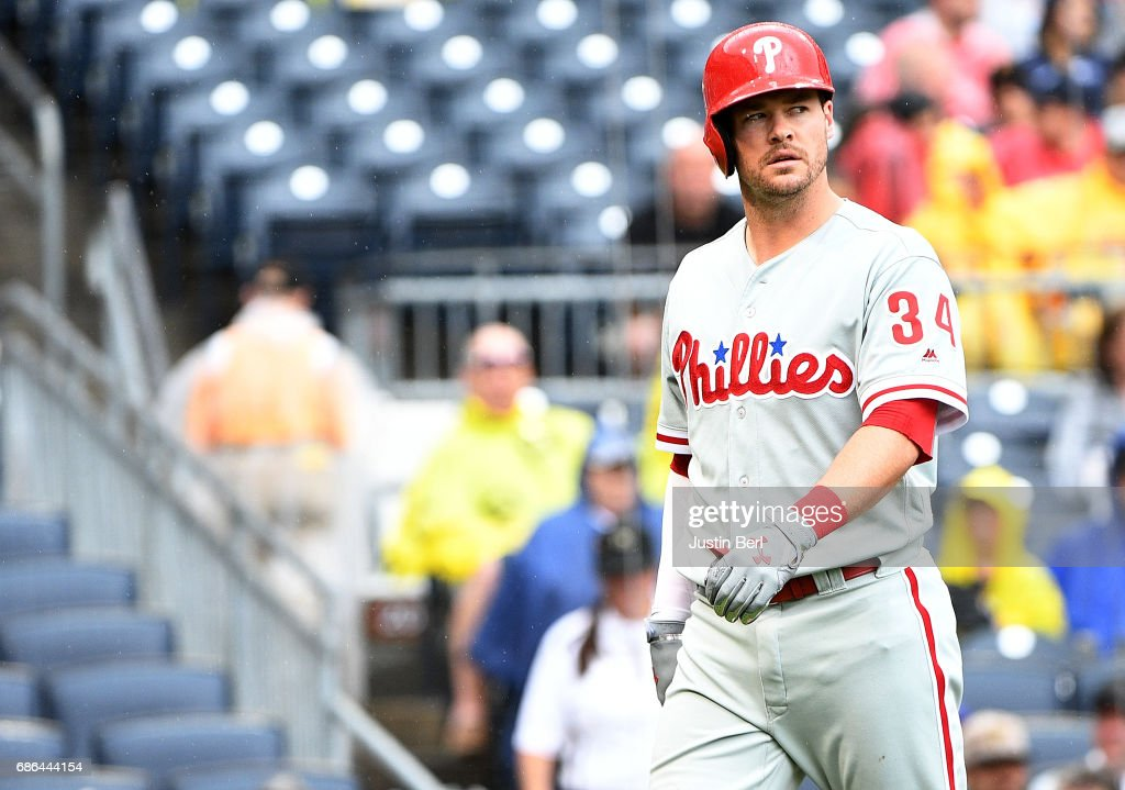 Andrew Knapp #34 of the Philadelphia Phillies walks back to the dugout after striking out in the fifth inning during the game against the Pittsburgh Pirates at PNC Park on May 21, 2017 in Pittsburgh, Pennsylvania.