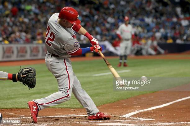 Andrew Knapp of the Phillies at bat during the MLB regular season game between the Philadelphia Phillies and the Tampa Bay Rays on April 15 at...