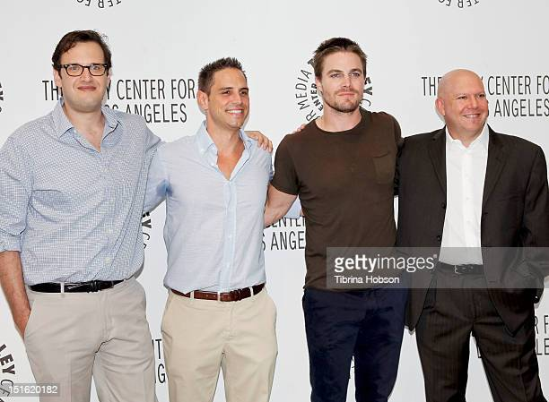 Andrew Kreisberg Greg Berlanti Stephen Amell and Marc Guggenheim attend the 2012 PaleyFest fall TV preview party for the CW at The Paley Center for...