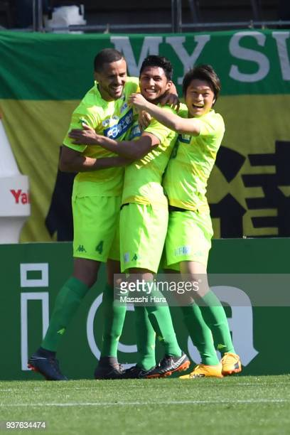 Andrew Kumagai of JEF United Chiba celebrates the second goal during the JLeague J2 match between JEF United Chiba and Kyoto Sanga at Fukuda Denshi...