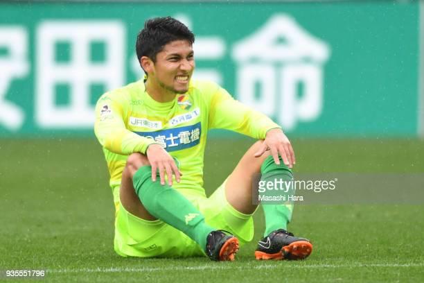Andrew Kumagai of JEF United Chiba looks on during the JLeague J2 match between JEF United Chiba and Kamatamare Sanuki at Fukuda Denshi Arena on...