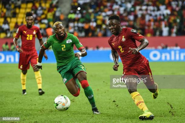 Andrew KyereYiadom and Steeve Farid Yago during the 2017 Africa Cup of Nations 3rd place match in Port Gentile Gabon on 4/2/2017