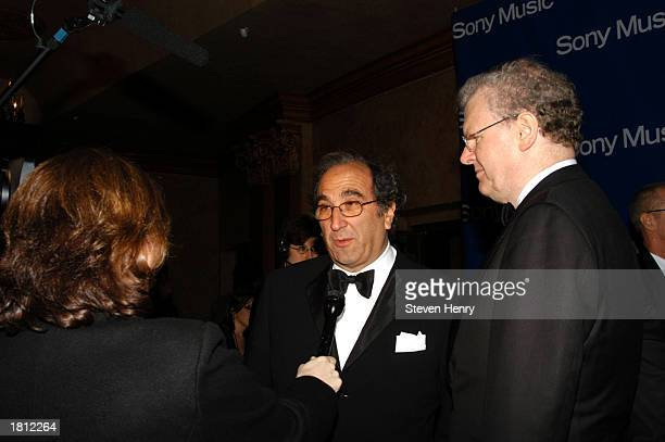 Andrew Lack CEO of Sony Music and Harold Stringer Chairman of Sony Music talk to members of the media at the Sony PostGrammy party on February 23...