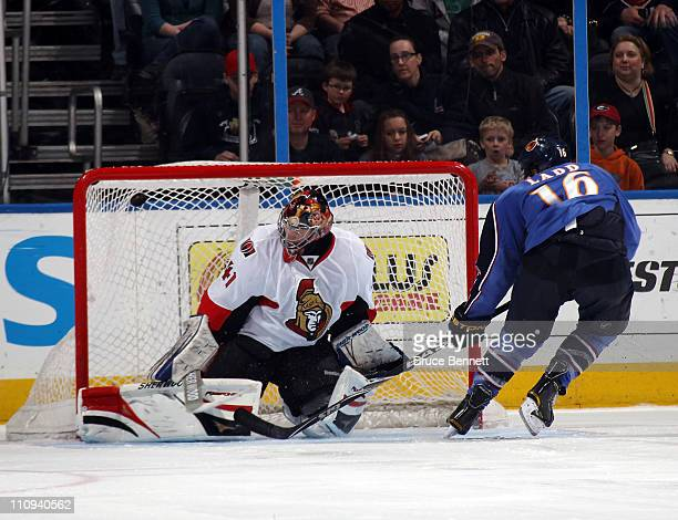 Andrew Ladd of the Atlanta Thrashers scores the shoot out winning goal against Craig Anderson of the Ottawa Senators in a 54 victory at the Philips...