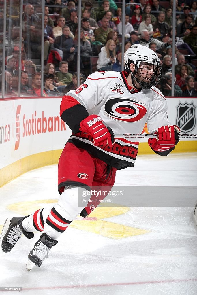 Andrew Ladd #16 of the Carolina Hurricanes skates with a full facemask against the Ottawa Senators at Scotiabank Place on January 17, 2008 in Ottawa, Ontario.