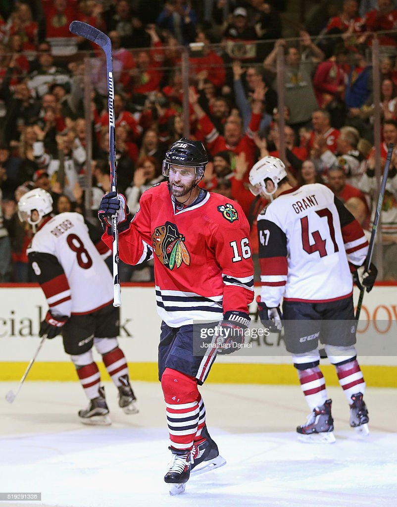 Andrew Ladd #16 of the Chicago Blackhawks celebrates a second period goal against the Arizona Coyotes at the United Center on April 5, 2016 in Chicago, Illinois.
