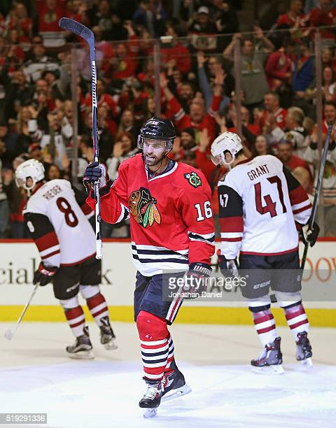 Andrew Ladd of the Chicago Blackhawks celebrates a second period goal against the Arizona Coyotes at the United Center on April 5 2016 in Chicago...