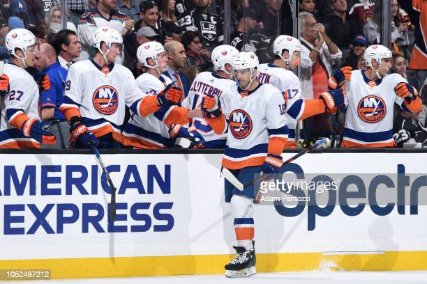 Andrew Ladd of the New York Islanders celebrates a thirdperiod goal by Scott Mayfield during the game against the Los Angeles Kings at STAPLES Center...