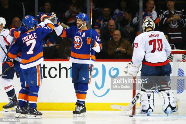 Andrew Ladd of the New York Islanders celebrates his second period goal against Braden Holtby of the Washington Capitals at Barclays Center on...