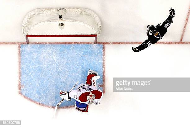 Andrew Ladd of the New York Islanders celebrates his third period goal as Carey Price of the Montreal Canadiens looks on at the Barclays Center on...