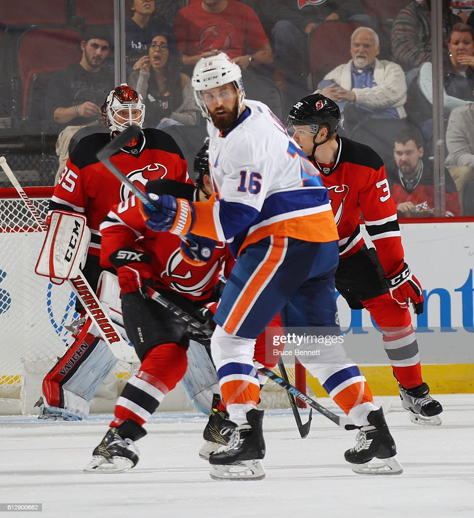 Andrew Ladd #16 of the New York Islanders skates against the New Jersey Devils at the Prudential Center on October 5, 2016 in Newark, New Jersey.