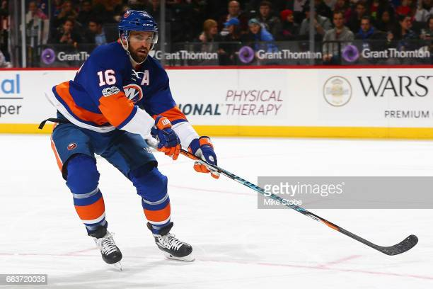 Andrew Ladd of the New York Islanders skates against the New Jersey Devils at the Barclays Center on March 31 2017 in Brooklyn borough of New York...