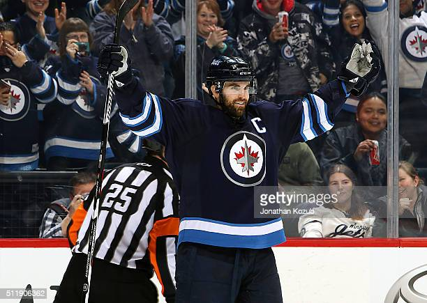 Andrew Ladd of the Winnipeg Jets celebrates his second period shorthanded goal against the Dallas Stars at the MTS Centre on February 23 2016 in...
