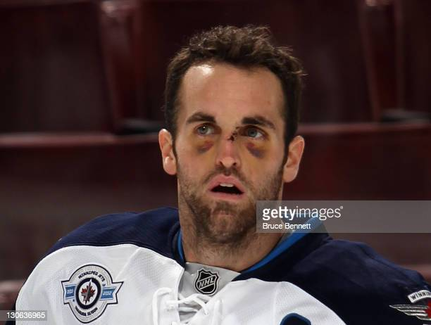 Andrew Ladd of the Winnipeg Jets skates in warmups prior to his game against the Philadelphia Flyers at the Wells Fargo Center on October 27 2011 in...