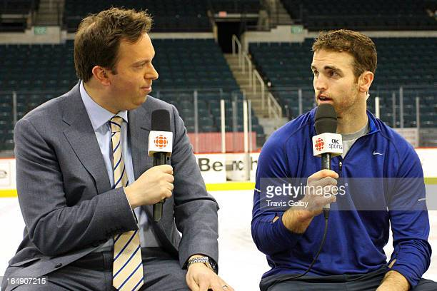 Andrew Ladd of the Winnipeg Jets speaks with CBC's Elliotte Friedman during the After Hours segment of Hockey Night in Canada following a 61 loss to...