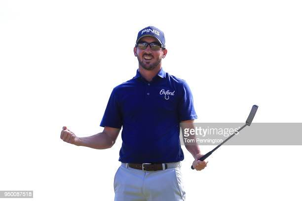 Andrew Landry celebrates on the 18th green after winning the Valero Texas Open at TPC San Antonio ATT Oaks Course on April 22 2018 in San Antonio...