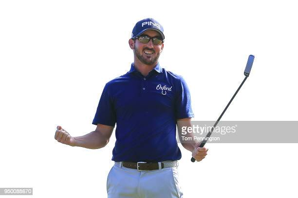 Andrew Landry celebrates on the 18th hole after winning the Valero Texas Open at TPC San Antonio ATT Oaks Course on April 22 2018 in San Antonio Texas