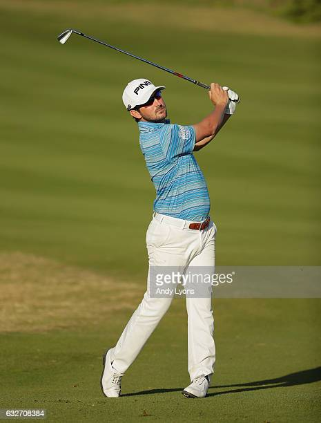 Andrew Landry hits his second shot on the 18th hole during the final found of The Bahamas Great Abaco Classic at the Abaco Club on January 25 2017 in...