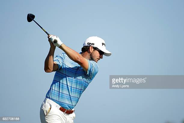 Andrew Landry hits his tee shot on the 12th hole during the final found of The Bahamas Great Abaco Classic at the Abaco Club on January 25 2017 in...