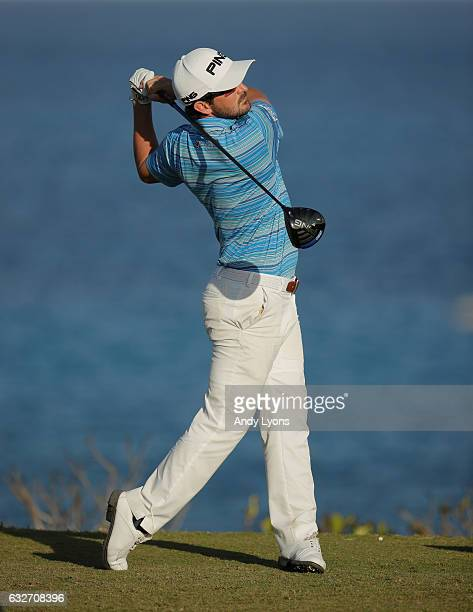 Andrew Landry hits his tee shot on the 18th hole during the final found of The Bahamas Great Abaco Classic at the Abaco Club on January 25 2017 in...