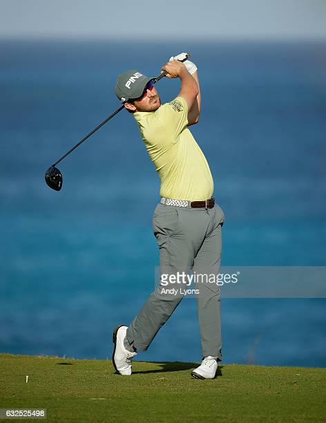 Andrew Landry hits his tee shot on the 18th hole during the second round of The Bahamas Great Abaco Classic at the Abaco Club on January 23 2017 in...