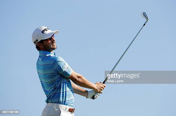 Andrew Landry hits his tee shot on the tenth hole during the final found of The Bahamas Great Abaco Classic at the Abaco Club on January 25 2017 in...