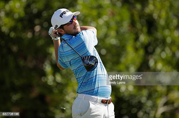 Andrew Landry hits his tee shot on the third hole during the final found of The Bahamas Great Abaco Classic at the Abaco Club on January 25 2017 in...