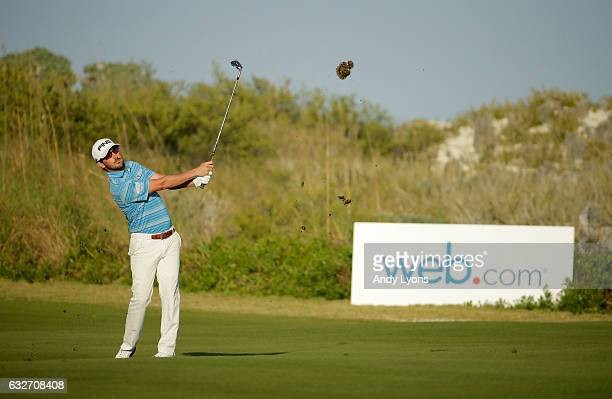 Andrew Landry hits his third shot on the 18th hole during the final found of The Bahamas Great Abaco Classic at the Abaco Club on January 25 2017 in...