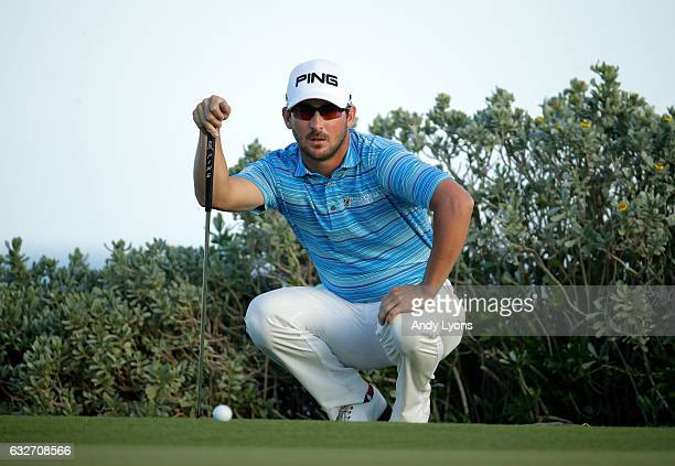 Andrew Landry lines up his birdie putt on the 18th hole during the final found of The Bahamas Great Abaco Classic at the Abaco Club on January 25...