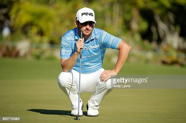 Andrew Landry lines up his putt for birdie on the 13th hole during the final found of The Bahamas Great Abaco Classic at the Abaco Club on January 25...