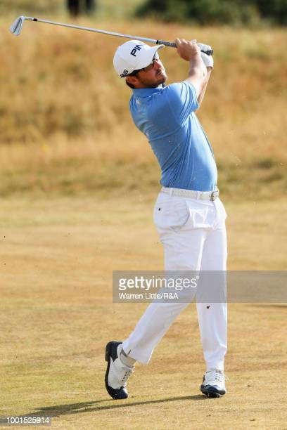 Andrew Landry of the United States plays his second shot on 2nd hole during round one of the 147th Open Championship at Carnoustie Golf Club on July...