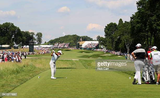Andrew Landry of the United States plays his shot from the second tee during the final round of the US Open at Oakmont Country Club on June 19 2016...