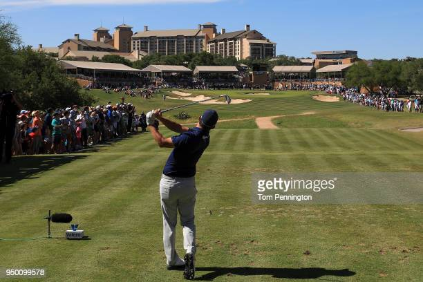 Andrew Landry plays his shot from the 16th tee during the final round of the Valero Texas Open at TPC San Antonio ATT Oaks Course on April 22 2018 in...