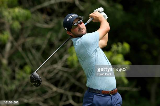 Andrew Landry plays his shot from the second tee during the third round of the John Deere Classic at TPC Deere Run on July 13 2019 in Silvis Illinois