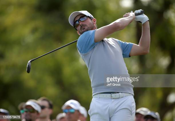 Andrew Landry plays his shot from the sixth tee during the final round of The American Express tournament at the Stadium Course at PGA West on...
