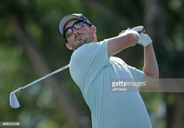 Andrew Landry plays his shot from the sixth tee during the final round of the CareerBuilder Challenge at the TPC Stadium Course at PGA West on...