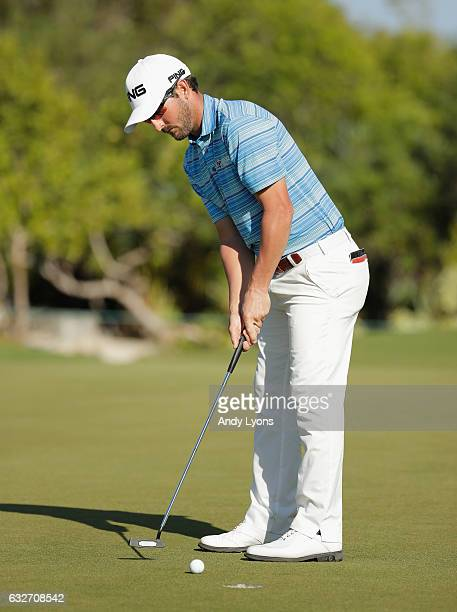 Andrew Landry putts for birdie on the 13th hole during the final found of The Bahamas Great Abaco Classic at the Abaco Club on January 25 2017 in...
