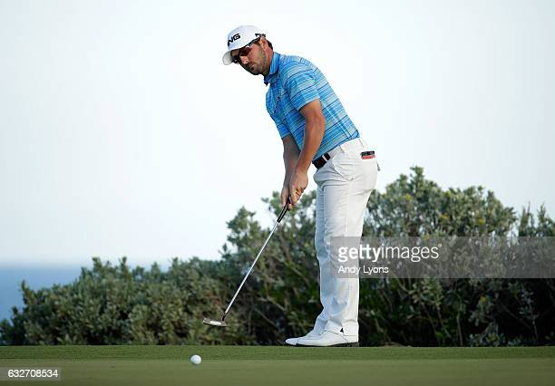 Andrew Landry putts for birdie on the 18th hole during the final found of The Bahamas Great Abaco Classic at the Abaco Club on January 25 2017 in...