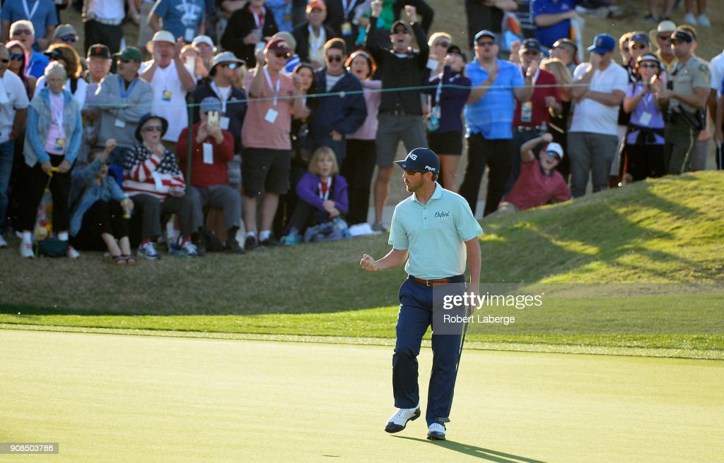Andrew Landry reacts to his birdie putt to force a playoff on the 18th hole during the final round of the CareerBuilder Challenge at the TPC Stadium Course at PGA West on January 21, 2018 in La Quinta, California.