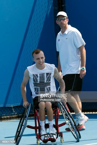 Andrew Lapthorne of Great Britain during a practice session at the 2013 Australian Open Wheelchair Championships at Melbourne Park on January 21,...