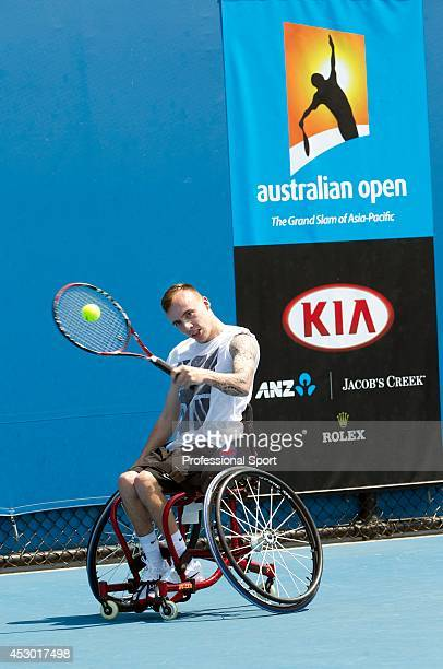 Andrew Lapthorne of Great Britain during a practice session at the 2013 Australian Open Wheelchair Championships at Melbourne Park on January 21 2013...
