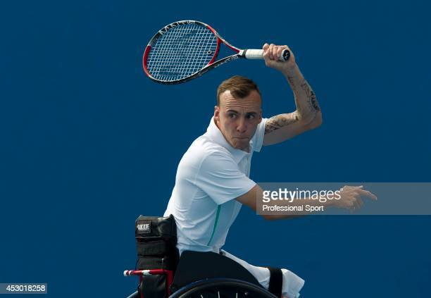 Andrew Lapthorne of Great Britain in action against Anders Hard of Sweden during the Australian Open Wheelchair Championships at Melbourne Park 25th...