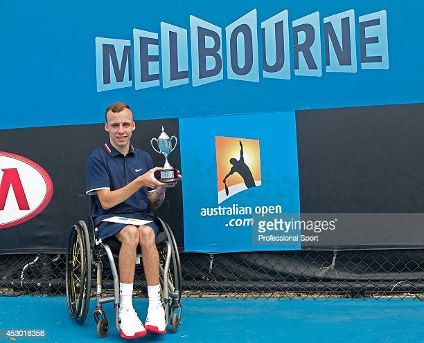 Andrew Lapthorne of Great Britain poses with the runnersup trophy after his Quad Wheelchair Singles final match against David Wagner of the United...